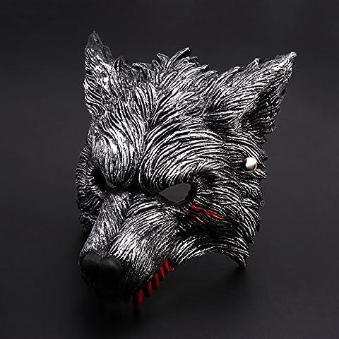 Halloween Werewolf Maske mit Blutflecken, dunkelgraues, lebendiges Werewolf Design (Nicht Grund Halloween Kostüme)