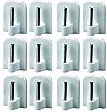 12 Gardinenhaken selbstklebend Klebehaken für Vitragestangen Haken Gardine Gardinenstange Fenster Weiß 16x24mm