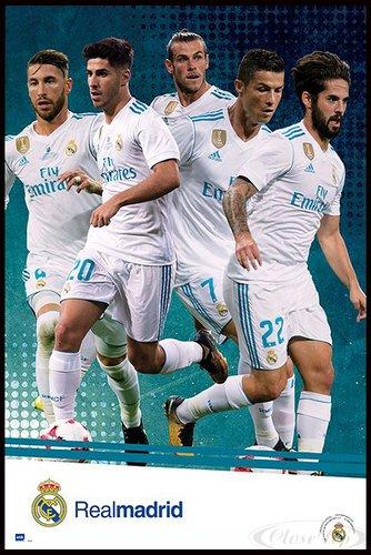Close Up Real Madrid Poster Mannschaft Saison 2017/18 (93x62 cm) gerahmt in: Rahmen schwarz