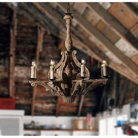 FWEF madera pueblo Retro personalidad mano tallada madera Simple Villa salón restaurante Hotel Bar araña superficie iluminada 15?-30? (67 *