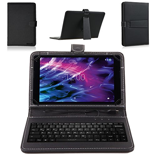 NAUC Keyboard Micro USB Tastatur Ultra für Medion Lifetab P9702 X10302 P10400 P10506 P10505 S10366 S10365 S10352 P10356 P10326 Tablet dünn ergonomisches Design QWERTZ Tastatur mit Schutzhülle aus robustem mit Standfunktion