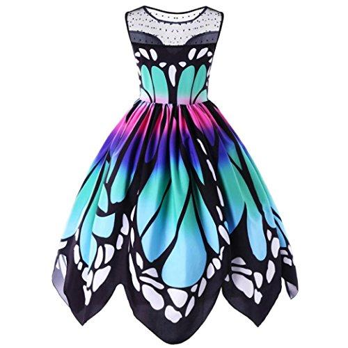 Tatis Mehrfarbenart und weise Frauen-Polyester-Schmetterlings-Druckspitze, die ärmelloses mittleres Kalb-einteiliges Kleid näht (L3, Mehrfarben) (Neckholder Schmetterlings-print,)