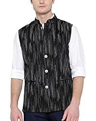 Shaftesbury London Mens Cotton Nehru Jacket (H2212--44, Black and Grey, 44)