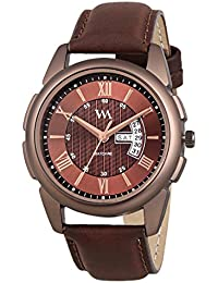 Watch Me Day Date Collection Brown Dial Brown Leather Strap Watch For Men And Boys DDWM-035 DDWM-035rto