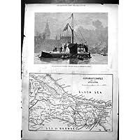 Stampa Antica della Mappa Costantinopoli 1878 dell'Obelisco
