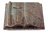MEMORUM Grabmale Grabbuch, Grabplatte, Grabstein, Grabkissen, Urnengrabstein, Liegegrabstein Modell Antique 40 x 30 x 8-9 cm Paradiso-Granit, Poliert inkl. Gravur (Bronze-Ornament Kreuz 2)