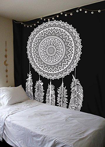 Tapiz indio blanco y negro, tapiz para colgar en la pared, tapices Mandala, tapiz indio tradicional de algodón impreso bohemio hippie grande arte de pared por Sophia Art