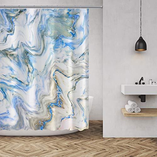 Duschvorhang, Marmor-Textur, Hintergrund Bedruckt, Polyester-Stoff, Badezimmer-Dekor-Set mit Haken, 183 x 183 cm Casual 72