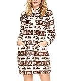 Aimado Damen Langarm Weihnachten Nachtkleid Stehkragen Drucken Flanell Schlafanzug Lounger House Nachtwäsche Kleid, Kaffee, Gr. XL