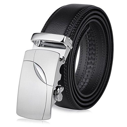 Vbiger Herren Gürtel Schwarz Gürtel für Anzug und Jeans mit Automatik Schnalle