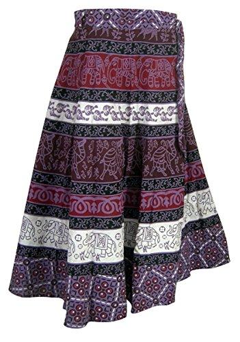 Inde Vêtements Designer Multicolore Enrouler Autour Jupe en Coton Tenue Multicolore3
