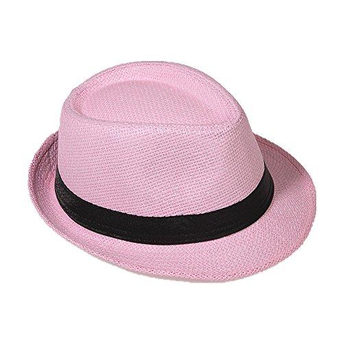 Strohhut Panama Fedora Trilby Gangster Hut Sonnenhut mit Stoffband Farbe:-Rosa (Strohhut) Gr:-58
