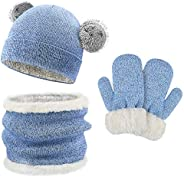QKURT Niños Sombrero Caliente Bufanda tubular y Gloves, Sombreros Bufanda Mitones de Caliente Punto para Niños