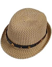 Leisial Moda Ocio Sombrero de Paja Playa Sombrero del Jazz Gorro Visera para  el Sol al Aire Libre Viaje Verano Primavera… 26f22dfb0ad