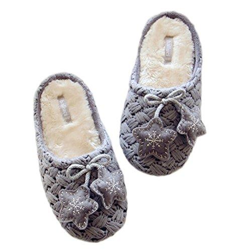 Fortuning's JDS Adulti Unisex coppia accogliente in maglia in vello Casa calzature comode pantofole con l'arco della stella Grigio