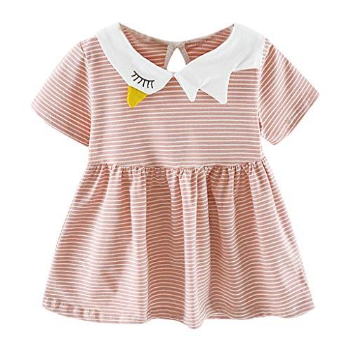 POPLY Blusenkleid Niedlichen Kleinkind Kind Baby Mädchen Kurzarm Gestreift Gedruckt Tops Sommerkleid Party Prinzessin Minikleid Kleidung