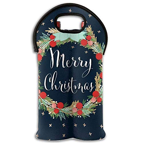 Pouple Christmas Wreath Garland Wine Travel Carrier & Cooler Bag 2-bottle Wine Carrying Tote New18