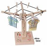 Gravurenalarm Geld-Wäschespinne mit personalisiertem Druck (Namen / Datum) - Das große Glück in der Liebe... Just Married - Sp01