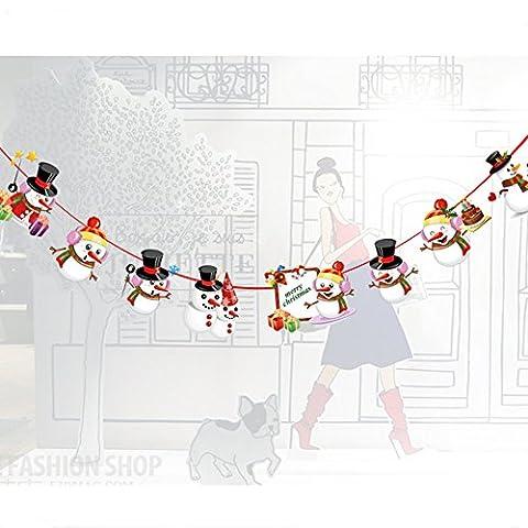 tentock Weihnachten Full Form Karton Alphabet/Saita Claus/Schneemann/Weihnachtsbaum/Rentier Saiten Wimpelkette Dekoration