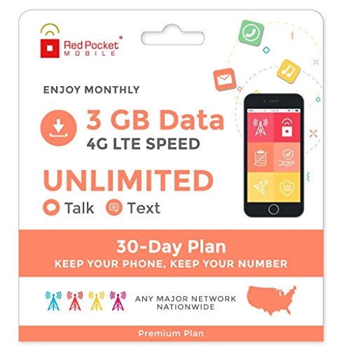 Red Pocket Mobile Premium 30 Day Prepaid Phone Plan, No Contract, SIM Kit; Unlimited Talk, Unlimited Text & 3 GB of LTE Data