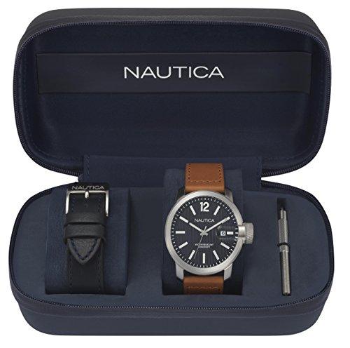 Nautica Men's Analogueico Quartz Watch with Leather Strap NAPSYD012