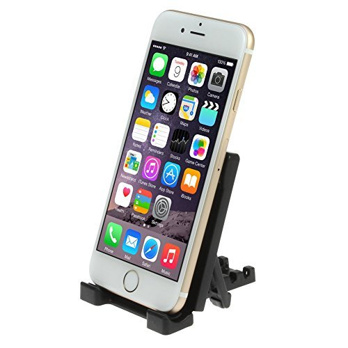 iKross Black Universal Mobile Phone Portable Mini Desktop Stand Collapsible Desk Holder for Apple, Samsung, LG, Huawei, Oppo, Asus, Wileyfox and other smartphone.