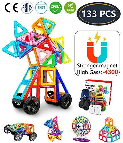 Jasonwell 133 Piezas Magnéticas Bloques de Construcción Conjunto de Tejas Magnéticas Educacionales para Construcción Juguetes Apilados para Niños (133)