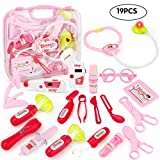 SONi Doctor Kit With Electronic Stethoscope 19 PCS Pretend Play Medical Toys Set Pack in Pink Durable Gift Case Doctor Toys for Kids