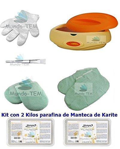 Mundo-TEM Chauffe paraffine + kit complet, 2 kg paraffine de beurre de karité et bref manuel sur le traitement de la paraffine