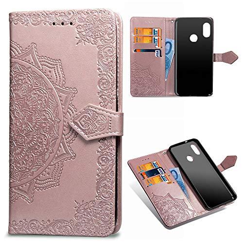 Beaulife. Xiaomi Mi A2 Lite Funda Cuero PU Floral Impreso Prueba Choques Cierre Libro Característica Soporte Xiaomi Redmi 6 Pro Caso Cubrir Mandala en Relieve Piel Cubierta Tapa Oro Rosa