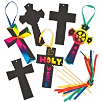 Baker Ross Adornos en forma de cruz para rascar y colgar, manualidades cristianas scratch art para niños escuela dominical iglesia (pack de 12).