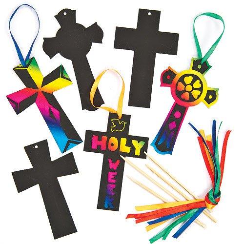 Kratzbilder zum Aufhängen - Kreuze - Religion - scratch art für Kinder zum Basteln zu Ostern (12 Stück)