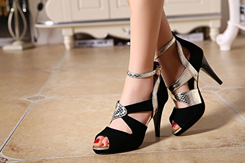 Frauen Peep Toe Knöchelriemen Pumps Charmante Sommer Leder Stitching Sandalen Feine High-Heel Römische Schuhe Schwarz Größe 30-43 Black