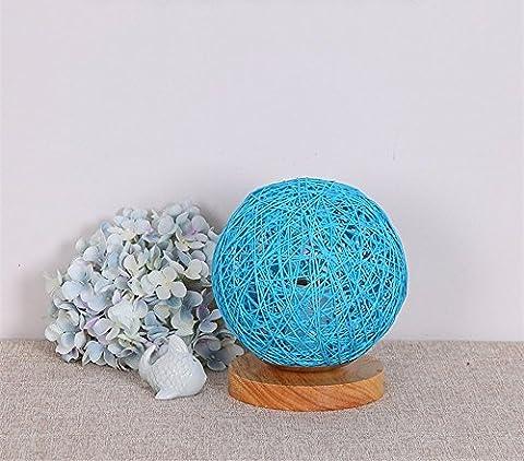 LikeIt Tischlampe Handgefertigte Rattan-gewebt für Schlafzimmer Wohnzimmer LED Nacht Nachttischlampe, blau