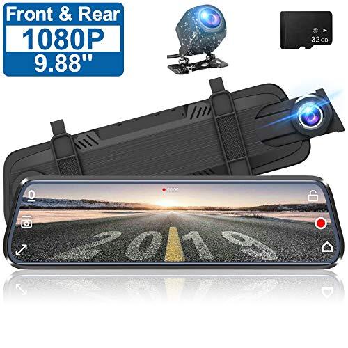 Dash Cam Auto Kamera 9,88 Zoll Full Touchscreen Auto Rückspiegel Video-Recorder,dashcam Auto vorne hinten 1080P HD Dual-Lens-Simultan-Aufnahme,G Sensor autokamera Duo [mit 32G SD-Karte] (Schwarz)