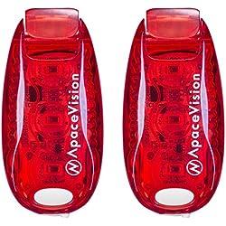 EverLightFX Luz LED para Bici Recargable USB (Pack de 2) de Apace - Luz Trasera Súper Brillante de Seguridad para Bicicleta - Luz para Correr, Caminar, Mascotas, Luz Intermitente, Luz Trasera con Clip (Rojo)