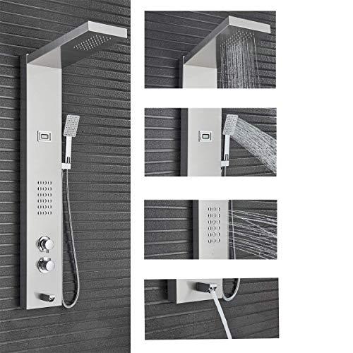 Suguword Thermostatisch Regen Duschpaneel Turm Dusche Edelstahl Duschsäule Körper Massage Jets Handbrause Badewanne Auslauf Gebürstet Nickel Duschpaneel Brauseset 4 in 1 Multi-Funktions-Duschsystem
