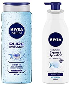NIVEA MEN Hair, Face & Body Wash, Pure Impact Shower Gel, 500ml and NIVEA Body Lotion, Express Hydration With Sea Minerals, 400ml