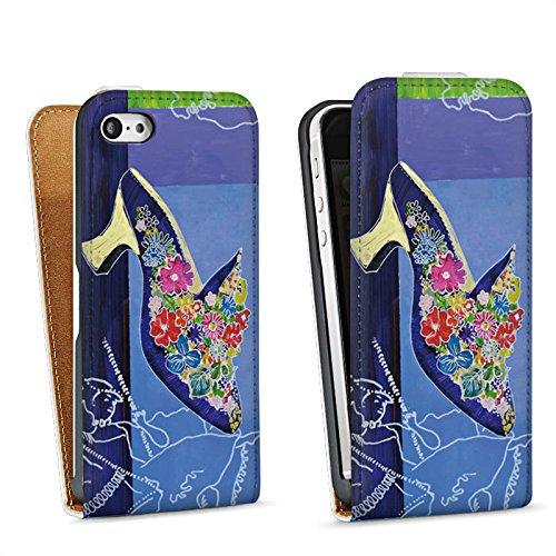 Apple iPhone 5s Housse Étui Protection Coque Chaussure Fleurs Fleurs Sac Downflip blanc