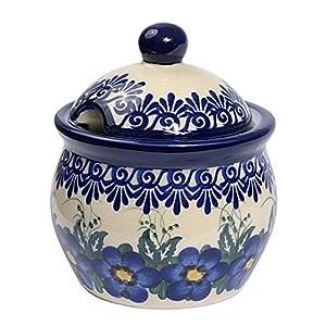 Traditional Polish Pottery, Handcrafted Ceramic Lidded Sugar Bowl with a Spoon Slot (400ml / 14 fl oz), Boleslawiec Style Pattern, C.101.PANSY