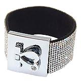 Bracelet en Velours Strass Brillants et Fermoir Original Cœur Plaqué Argent