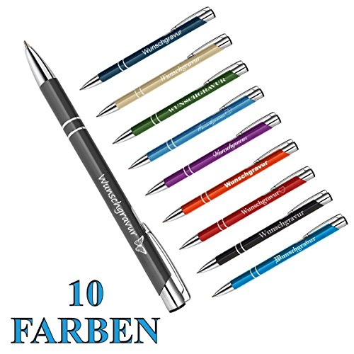 1 Metall Oleg Kugelschreiber mit Gravur des Namens - Geschenk-Idee Mitbringsel | Farbe grau
