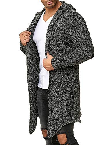 Red Bridge Herren Strickjacke Übergangsjacke Cardigan Asymmetric Long Cut Kapuze Anthrazit XL
