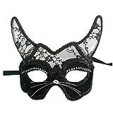 Masque Vénitien Masquerade Masque Femmes Sexy Noir Briller Fantaisie Dentelle à l'oeil de Chat (Black Horns Mask)