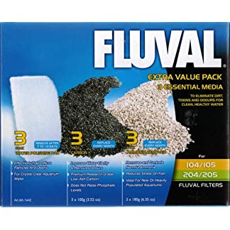 Fluval 104/105/204/205 Extra Value Media Pack containing carbon, ammonia and fine polishing pads 7