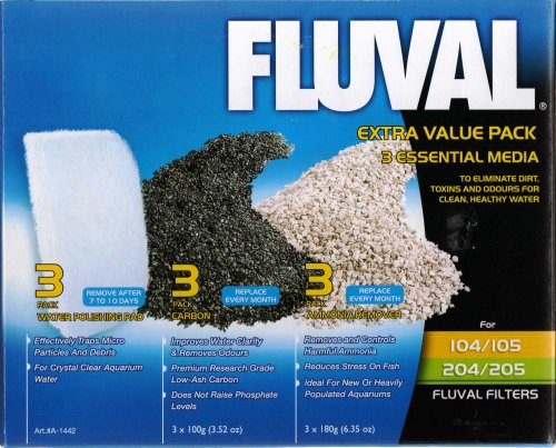 Fluval 104/105/204/205 Extra Value Media Pack containing carbon, ammonia and fine polishing pads 1