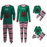 Riou Weihnachten Set Kinder Baby Kleidung Pullover Familie Pyjamas Nachtwäsche Passende Outfits Set Schlafanzug PJS Homewear für Eltern Junge Mädchen Baby Kleidung (105-110, Kinder Grün)