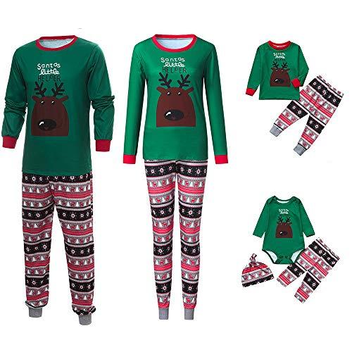 Riou Weihnachten Set Kinder Baby Kleidung Pullover Familie Pyjamas Nachtwäsche Passende Outfits Set Schlafanzug PJS Homewear für Eltern Junge Mädchen Baby Kleidung (L, Mom Grün)