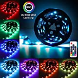 LED TV Backlights,Elfeland LED Strips Lights RGB 2m 5050SMD LED Lighting Strip for 40~60 Inch HDTV PC Monitor 7 Colors with USB Port 3 Connecting Wire Wireless Remote Control Ideal for Home Decoration