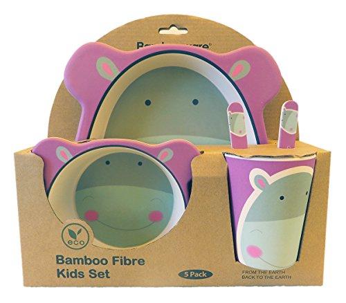 Vajilla de bambú bebé e Infantil, Material ecológico sin BPA. Varios Colores y Animales, Apto para lavavajillas (Hipopótamo)